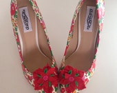 Liberty shoes,ladies shoes, liberty fabric, liberty floral heels, felt flowers, red shoes, stilletto heels, customised shoes, vintage flora.