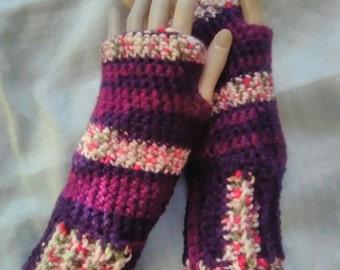 Crochet Fingerless Gloves- Madeleine Berries Blast