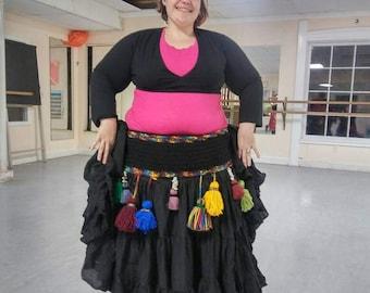 """Bellydance Tassel Belt-""""Ethnic Colors"""" Custom Made Crochet Belt"""