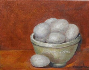 Eggs in a Bowl Original Canvas Painting
