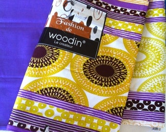 Woodin purple mustard African wax cotton fabric duo