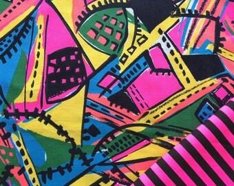 Vintage 80's wild neon abstract striped cotton fabrics x 2