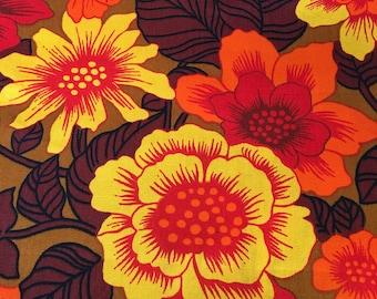 70's Vintage orange yellow flower power cotton fabric