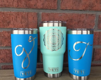 Pre-Coated YETI with laser engraved monogram or image