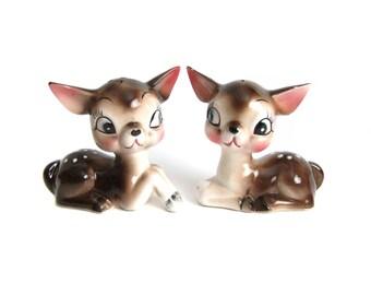 Kitschy Deer Salt and Pepper Shakers, Vintage Made in Japan, Deer Fawn Figurines