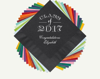 Class of 2017 Graduation Party Beverage Napkins And Or Luncheon Napkins With Design, Napkin And Foil Color Options. See Thumbnail Images.