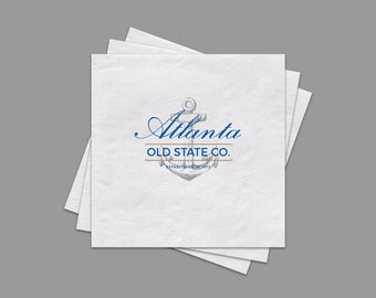 "Full Color Logo Beverage Napkins, Custom White Cocktail Napkins, 3 Ply Napkins Measure 4.75"" X 4.75 In. Email Logo To PineAndBerry@Gmail.com"