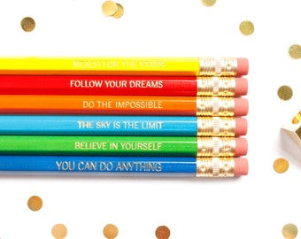 Motivational Sayings Pencil Set, Test Pencils, Good Luck Pencils, Gold Foil Pencils, Engraved Pencils, Stocking Stuffer, TED032-PNCL