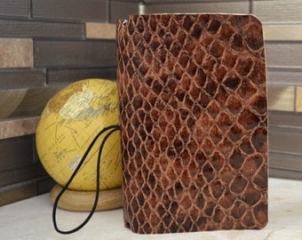 Brown Crocodile Snakeskin Traveler's Notebook, Faux Croc Leather Fabric Journal, Midori Planner Kit, Fauxdori Journal Kit