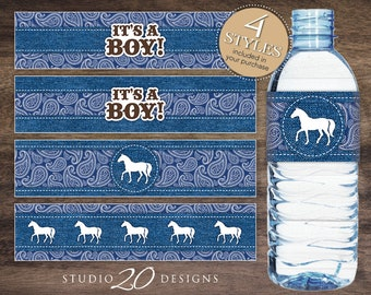 Instant Download Country Western Water Bottle Labels, Printable Navy Blue Cowboy Water Bottle Labels, It's a Boy Horse Water Labels 94B