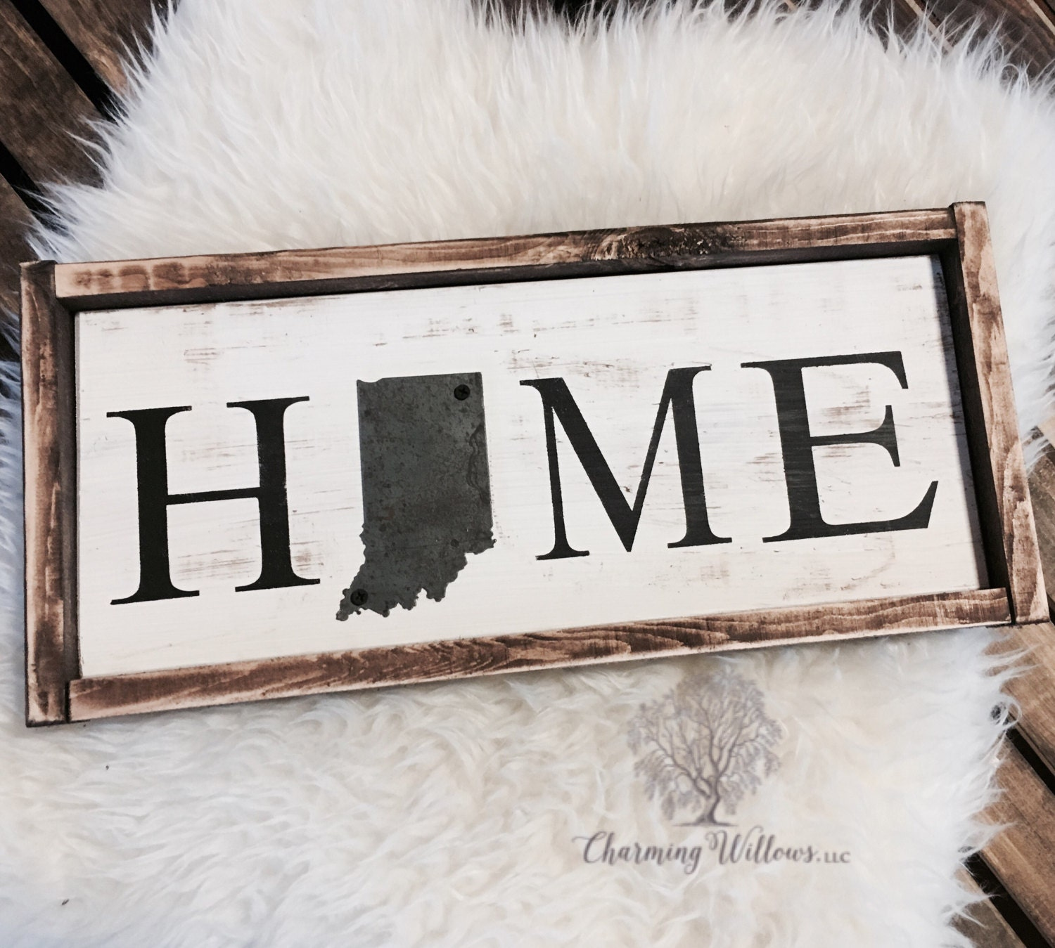 Metal Home Sign Decor State Sign  Indiana Sign  Indiana Decor  Home Wood Sign  Metal
