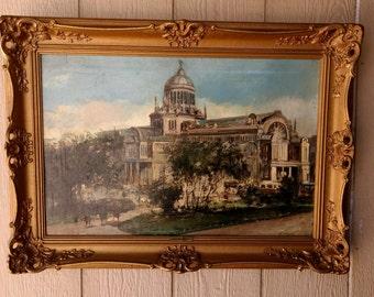 "Antique Oil on Canvas Painting Listed Artist Cornelis De Bruin (1870-1940) entitled ""Paleis Voor Volksvlijt"""