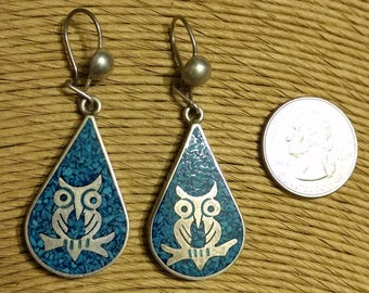 Vintage Mexico Taxco TE-05 Sterling Silver and Inlaid Turquoise Dangle Owl Earrings