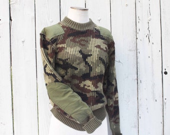 Vintage Camouflage Sweater, Ribbed Pullover Sweater with Elbow Patches, Made in England, Vintage Clothing