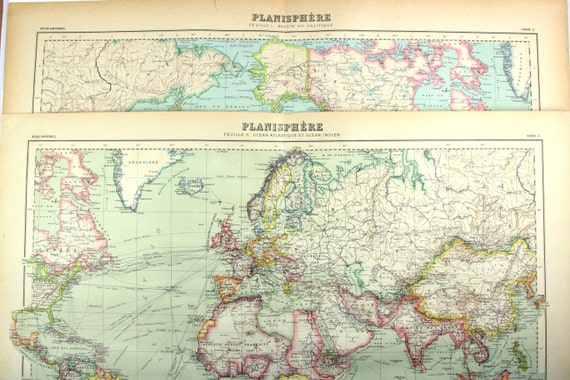 vintage planisphere two maps pacific ocean and atlantic and. Black Bedroom Furniture Sets. Home Design Ideas