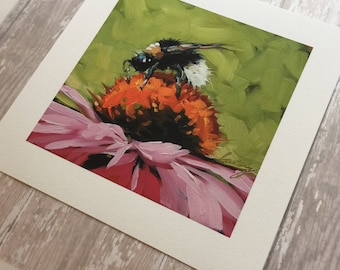 "6x6"" Print of original oil painting of a bumblebee on a coneflower by Andrea Lavery, bee art print, bumblebee art print"