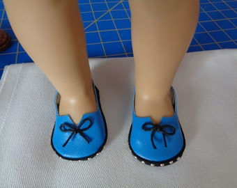 Blue- 18 inch Doll Shoes - Slip On Sling back- Sandal Loafers-shown on my american girl doll