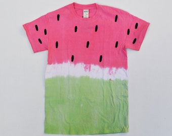 Summer Style Cute Tie Dyed Yummy Watermelon Unisex T-shirt With Pastel Red and Green Colours Hipster Indie Swag Dope Hype Mens Womens