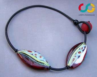 Hollow bead necklace-striped olives, exclusive pattern and design