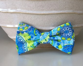 Dog Bow / Bow Tie - Blue Green Medallion Pattern