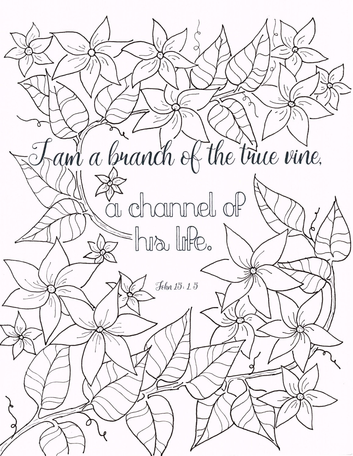 who i am in christ john 15 1 christian coloring page