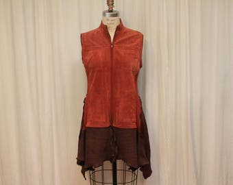 Suede vest cardigan women top Altered Upcycled sweater vest Hippie clothes Sleeveless top reconstructed jacket Eco fashion Aztec brick M-L