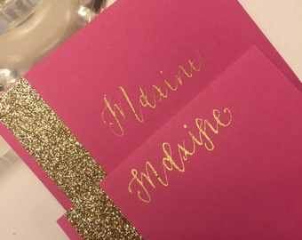 Gold and Hot Pink Glitter Place Cards