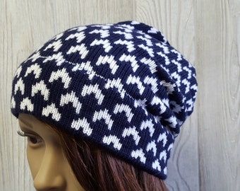 Unisex beanie, Slouchy beanie, Arrow hat,geometric beanie, fair isle hat, knit toque, slouchy knit, womens hat, mens hat