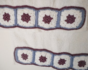 Guest towels with Hand Crocheted Motif