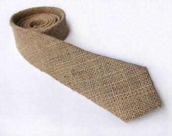 Burlap tie. Skinny burlap necktie. Wedding groom's necktie groomsmen gift rustic