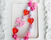 Valentines Day Chunky necklace, red bow with hearts, Valentines Day Gum Ball Necklace