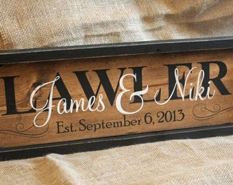 WOOD SIGN PERSONALIZED Family Name Sign Personalized Rustic Established Date Anniversary Gift Wedding Sign Unique Wedding Sign with name