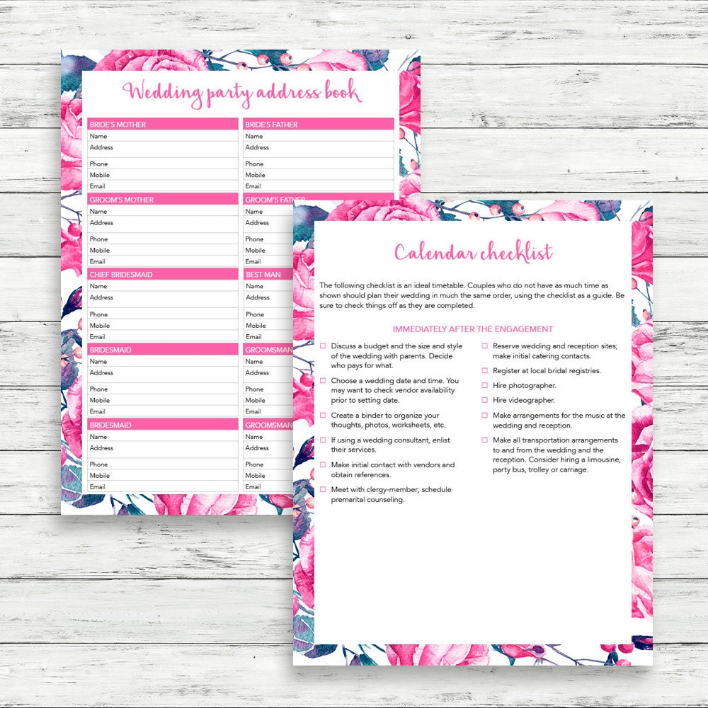Flower wedding binder Printable wedding checklist Wedding – Printable Wedding Checklist