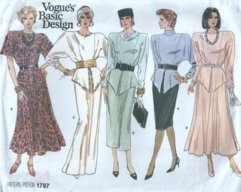 Vogue Basic Pattern Design #1797 - Sizes 8-10-12 - Uncut - Factory Fold