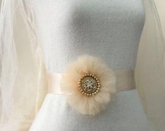 Peach sash belt, bridal belt, bridal sash, flower sash,