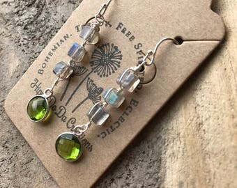 For Ida// reserved listing// Labradorite and Peridot Silver Earrings, Semiprecious Gemstone Earrings, Handmade Jewelry