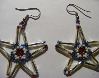 Star beaded earrings very light in weight hand  made NICE.
