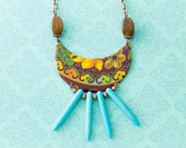 Tribal Bib Necklace with Vintage Tin and Turquoise Spikes, Wooden Beads, and Antique Copper Chain, Spike Necklace, Tribal Jewelry..
