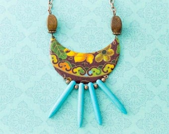 Tribal Bib Necklace with Vintage Tin and Turquoise Spikes, Wooden Beads, and Antique Copper Chain, Spike Necklace, Tribal Jewelry