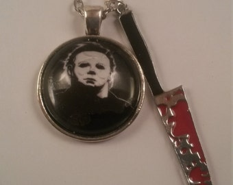 MichaelMyers Horror Handmade Charm Necklace w/ Bloody Knife