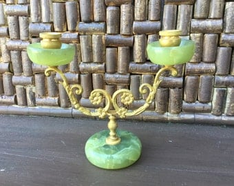 Vintage Brass Asian Candelabra Candle holder with Green Jade Centerpiece