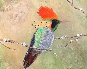 Original Tufted Couquette Hummingbird Painting