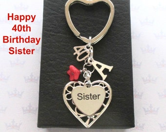 Sister 40th birthday gift - 40th keychain - Sister gift - Personalised 40th keyring - Personalised sister keyring - Sister keychain - UK