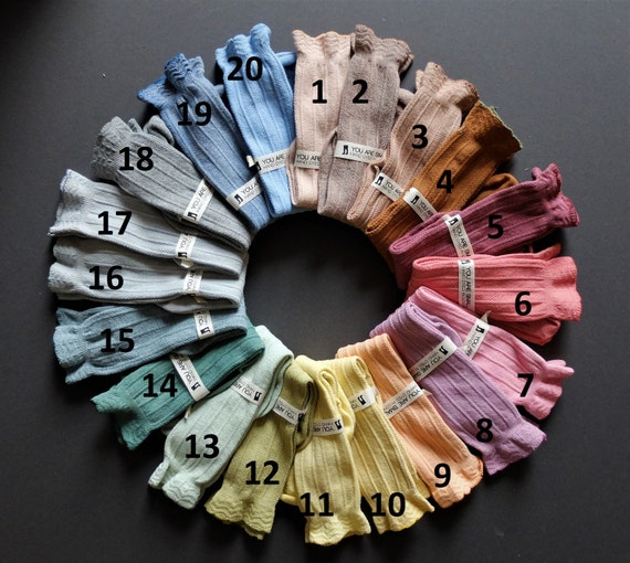 1-3 Years HAND DYED baby knee high socks in a range of beautuiful colours with frilly tops!