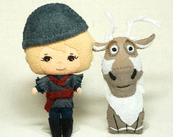 Wool felt fairy tale doll pair Kristoff and his Reindeer Sven, Wool Felt Art Dolls, Handmade Collectible Dolls *Ready to Ship