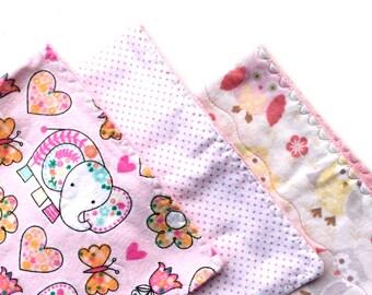 Newborn baby gift, 3 baby burp cloths, pink burp cloths, flannel burp cloths, infant burp cloths, pink baby gift, cute baby girl gift