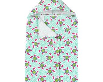 Personalized Turtle Kids Hooded Beach Towel Pink Mint Monogrammed Embroidered