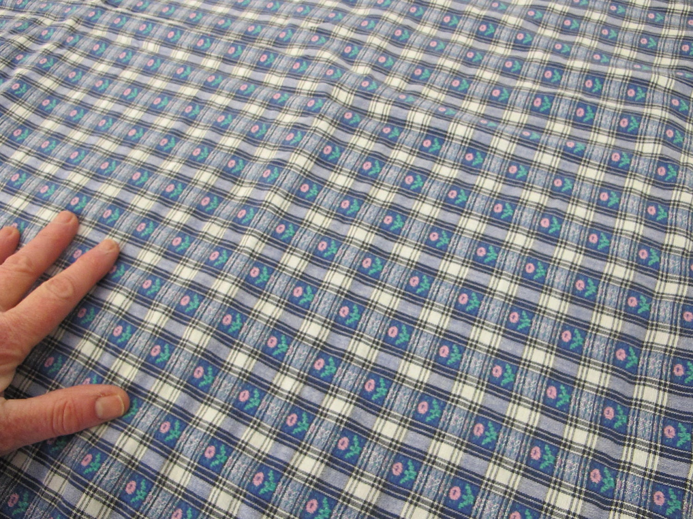 Cottage Tablecloth Blue White Plaid Tablecloth Checked Tablecloth 1960s  Woven Tablecloth Farmhouse