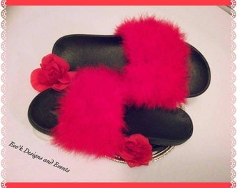 Posh and pretty fuzzy slippers!!