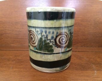 Vintage Mexican Art Pottery Match Cup